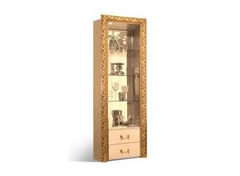 Шкаф-витрина для посуды Тиффани Премиум ТФВ3-1С(П) (капучино, золото)