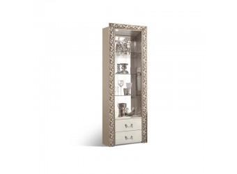 Шкаф-витрина для посуды Тиффани Премиум ТФВ3-1С(П) (слоновая кость, серебро)