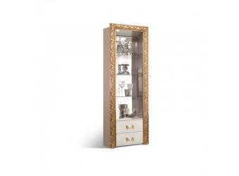 Шкаф-витрина для посуды Тиффани Премиум ТФВ3-1С(П) (слоновая кость, золото)