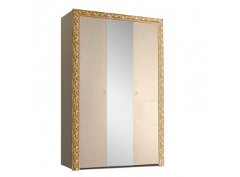 Трехстворчатый шкаф для одежды с зеркалом Тиффани Премиум ТФШ1/3(П) (капучино, золото)