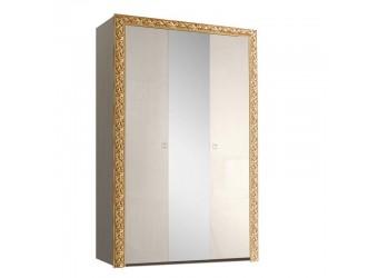 Трехстворчатый шкаф для одежды с зеркалом Тиффани Премиум ТФШ1/3(П) (слоновая кость, золото)