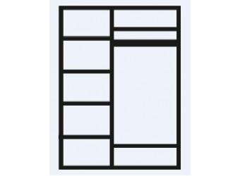 Трехстворчатый шкаф для одежды Тиффани Премиум ТФШ2/3(П) (черный, серебро)