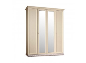 Четырехстворчатый шкаф для одежды с зеркалом Тиффани ТФШ1/4 (серебро)